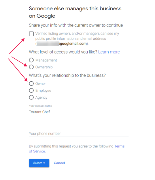 Fill in Ownership Claim Form - Claim - Request Ownership of Google Business Page - Online Ownership