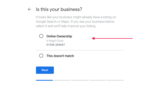 Select the Business - Claim - Request Ownership of a Google Business Listing - Online Ownership