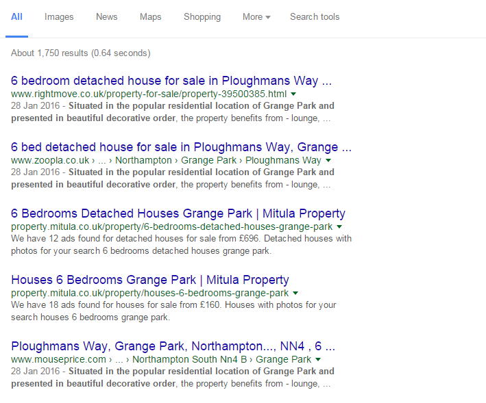 Property page in Search Results