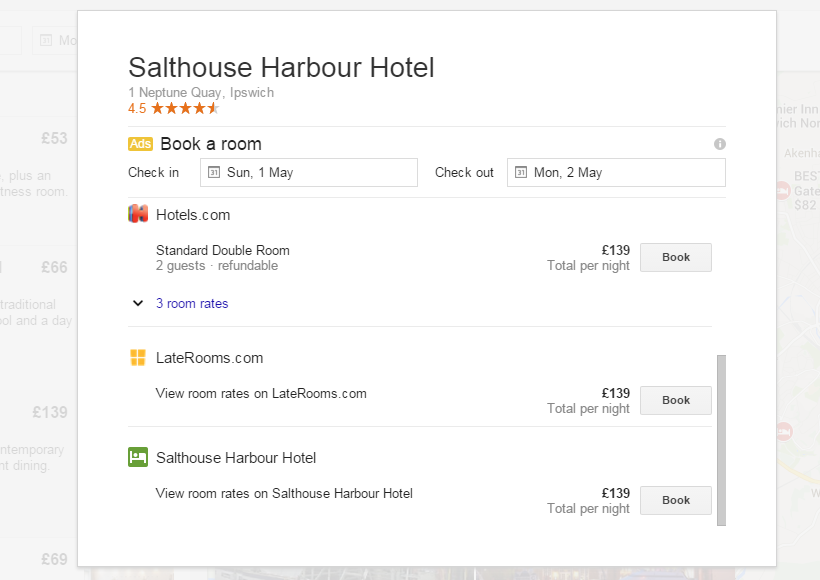 Hotels Own Booking and Price in Knowledge Panel
