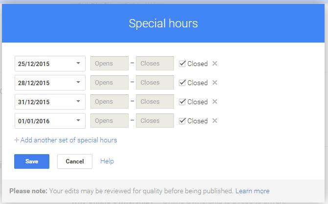 Set Special Hours Calendar and Times