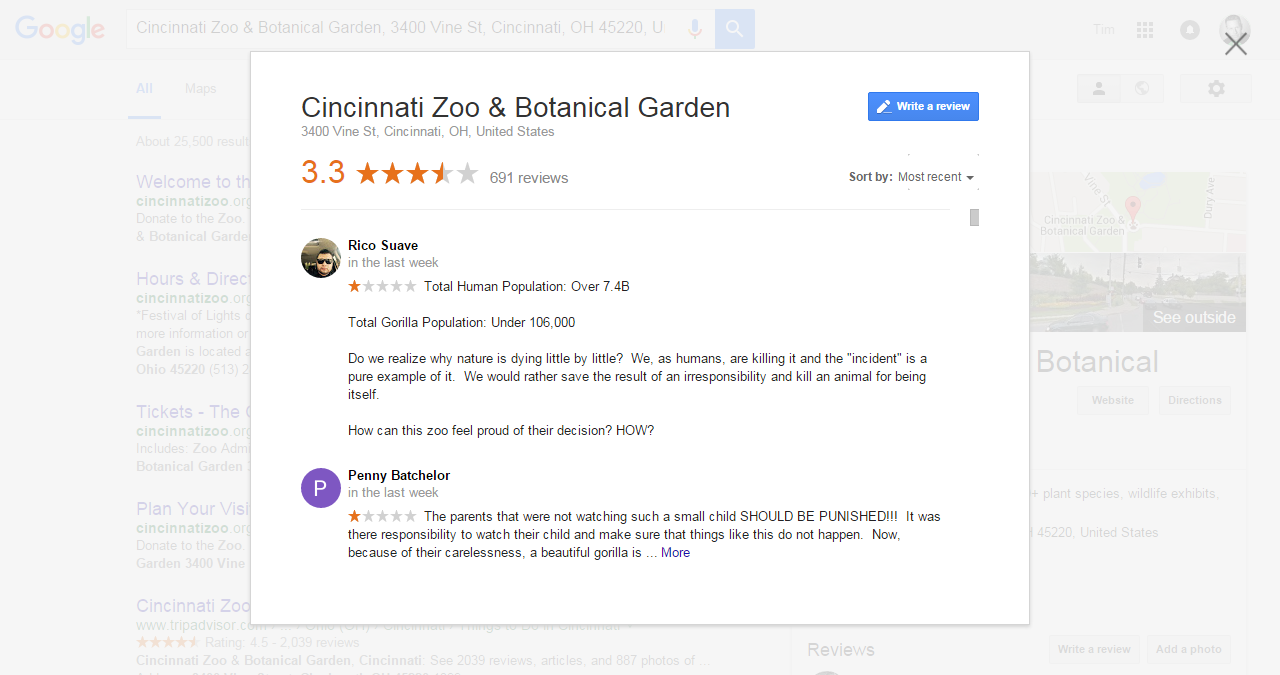 Cincinnati Zoo Google Business Page Reviews