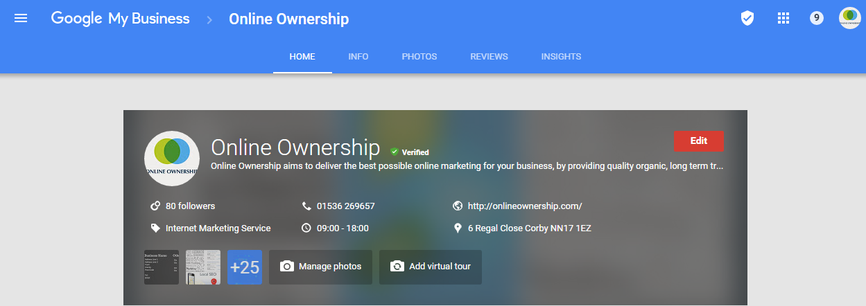 Google Business Page Dashboard