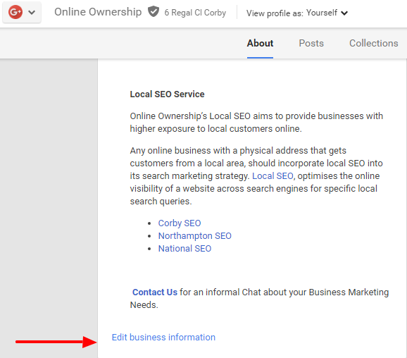 Business Description in Google+ Page