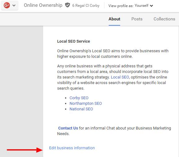 Business Description in Google+ Page