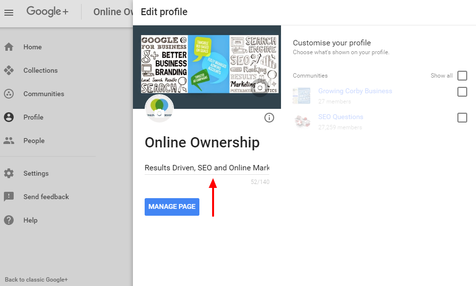 Business Description in New Google+
