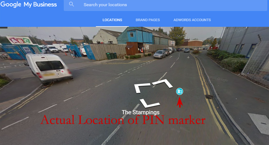 PIN marker location in Street View