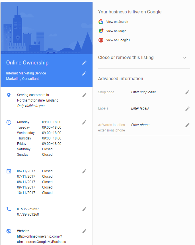 Business Listing Information Google My Business Dashboard - Online Ownership