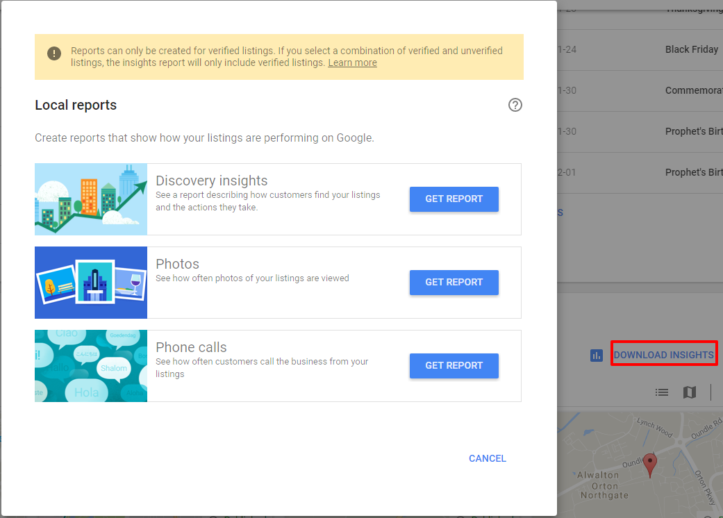 Download Insights Google My Business Dashboard - Online Ownership
