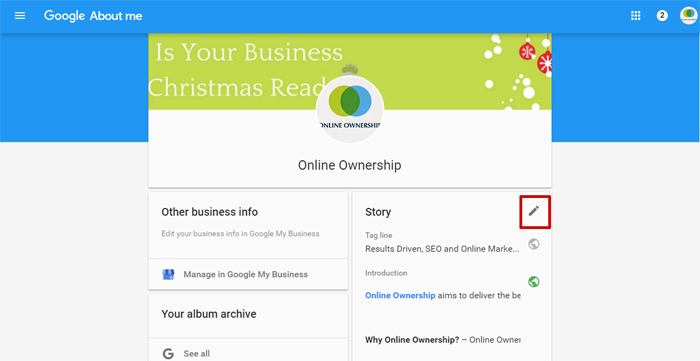 Google Business Page Tag Line and Story