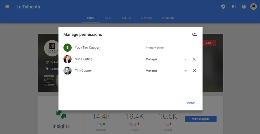 1. Manage Permissions - Transfer Ownership of a Google Business Page