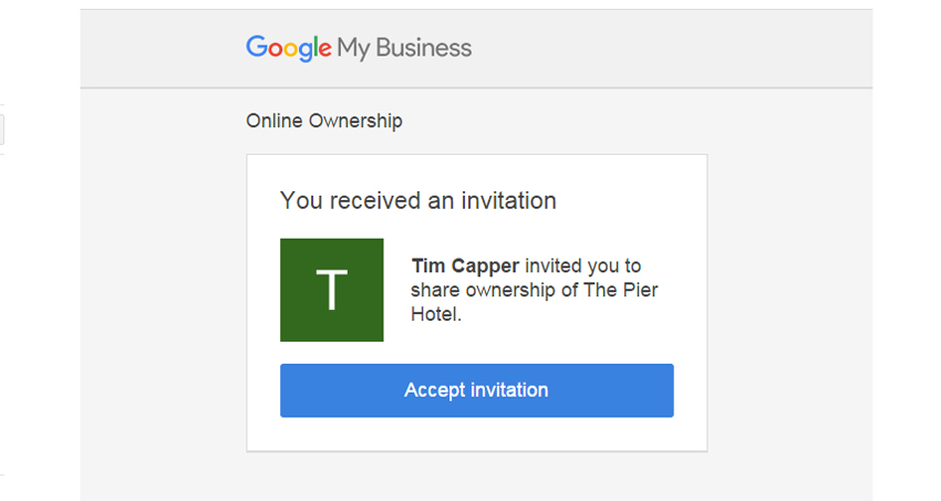 6. Accept Invitiation - Transfer Ownership of a Google Business Page