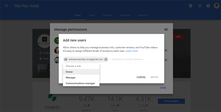 4. Select User Permission - Transfer Ownership of a Google Business Page