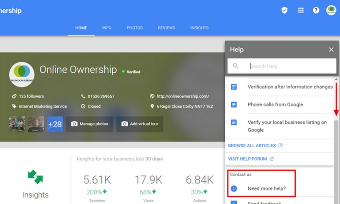 Contact Google Business Support- Step 2