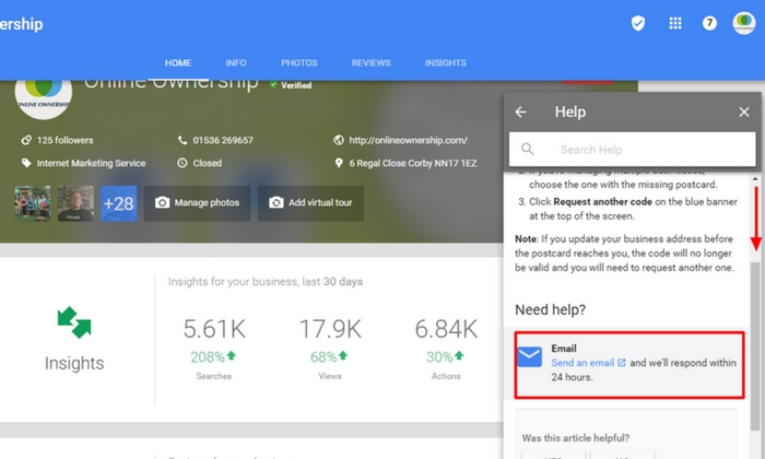 Contact Google Business Support- Step 6