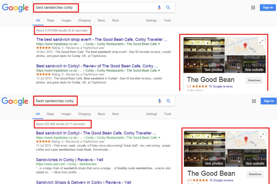 One Box results for local business in search results