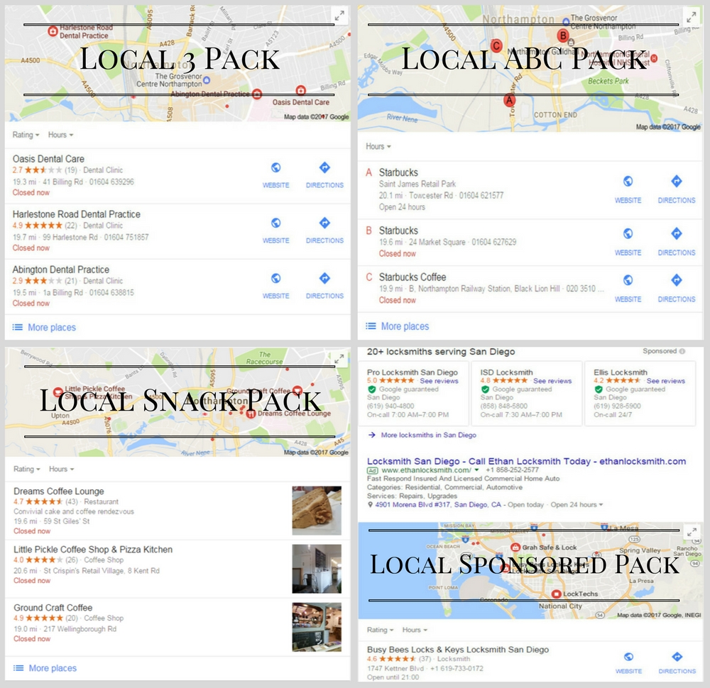 Local Pack Types and SEO Factors