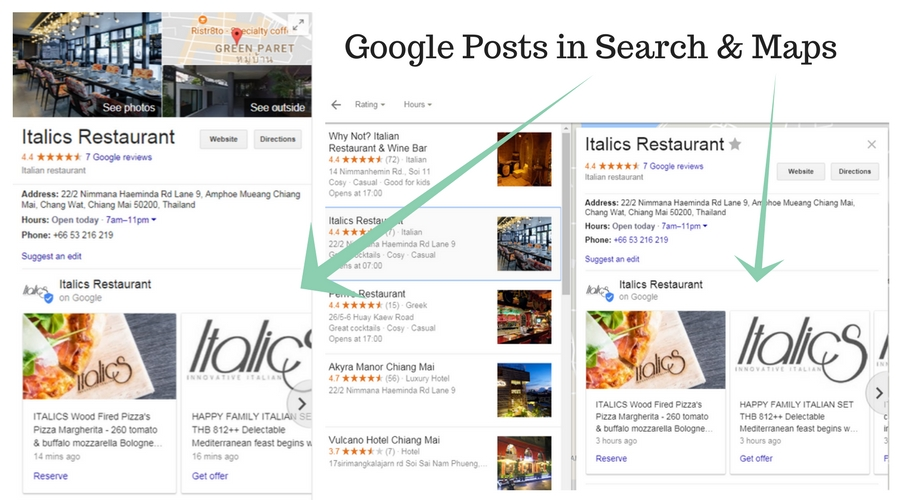 Google Posts in Search And Maps via Google My Business
