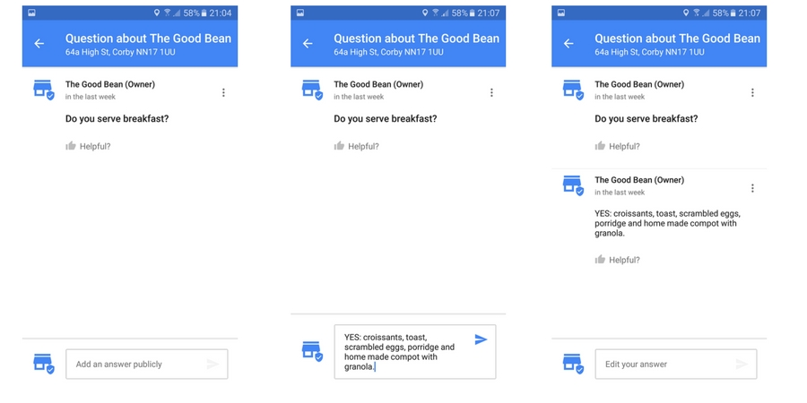 Google Business Questions & Answers in Google Maps