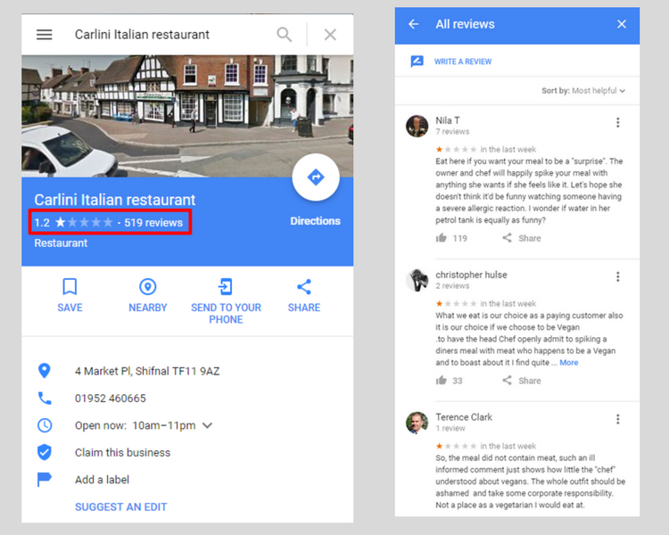 Fake Google Reviews added to Business Page - Online Ownership