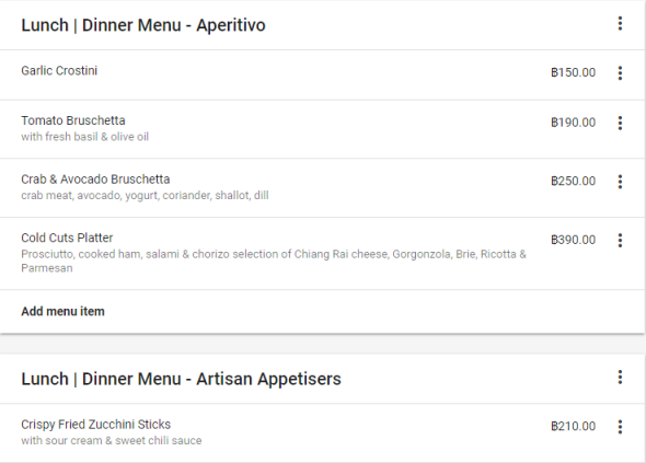 Menu Items, Description and Price Added to Google Business Listing - Online Ownership