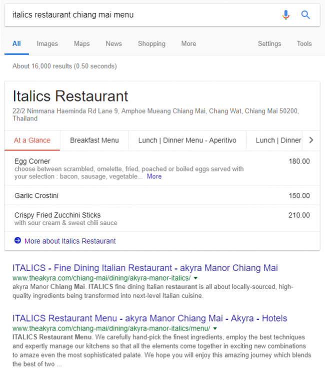 Restaurant Menu Featured Snippet in Search Results - Online Ownership