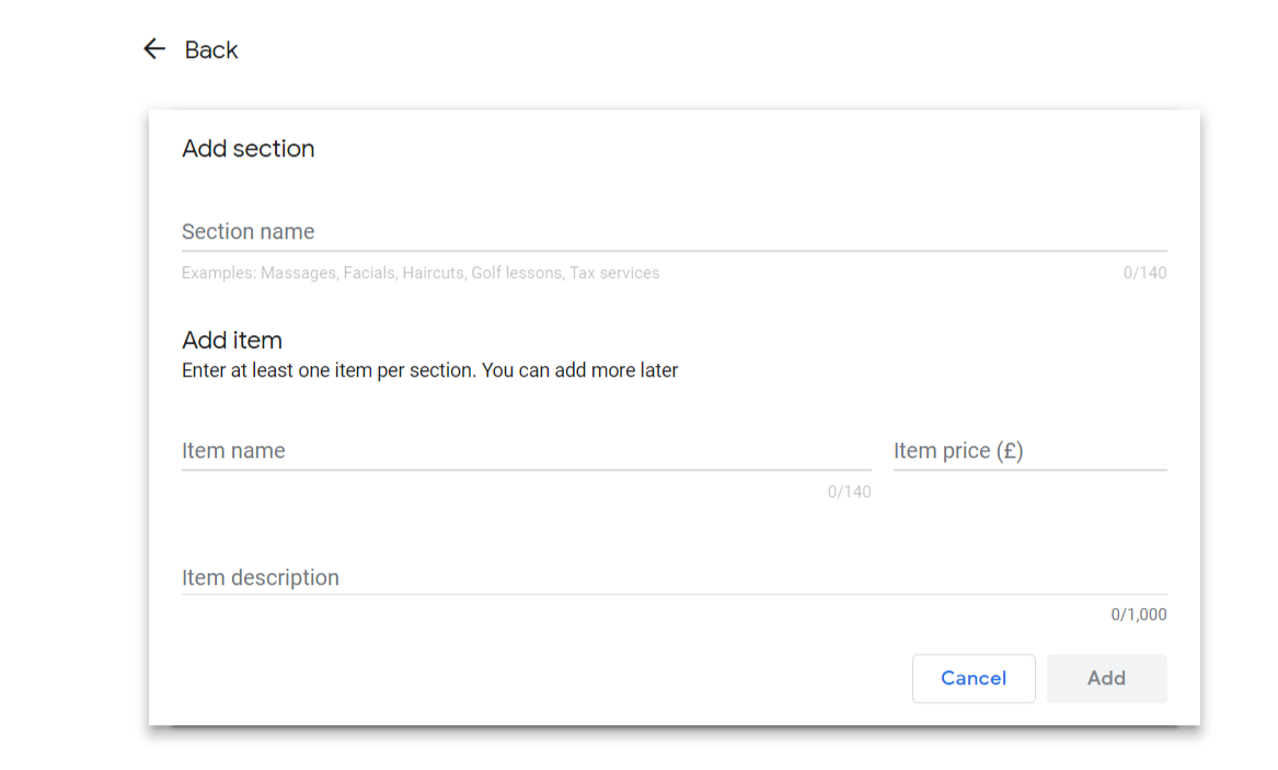 Add Service Items to Services Section in Google Business Page - Online Ownership
