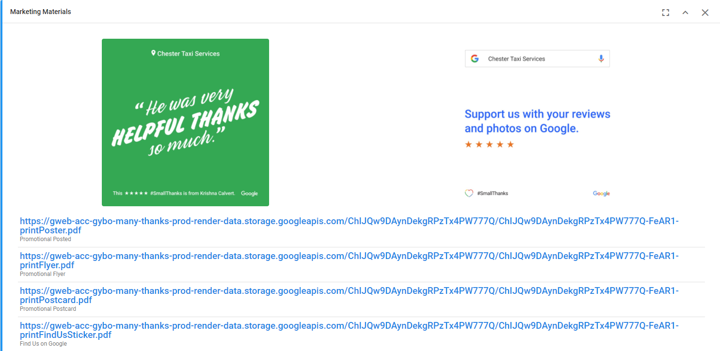 Marketing material from Small Thanks with Google with ReviewMaker - Online Ownership