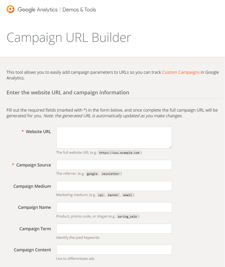 Google UTM Tracking Code Builder - Online Ownership