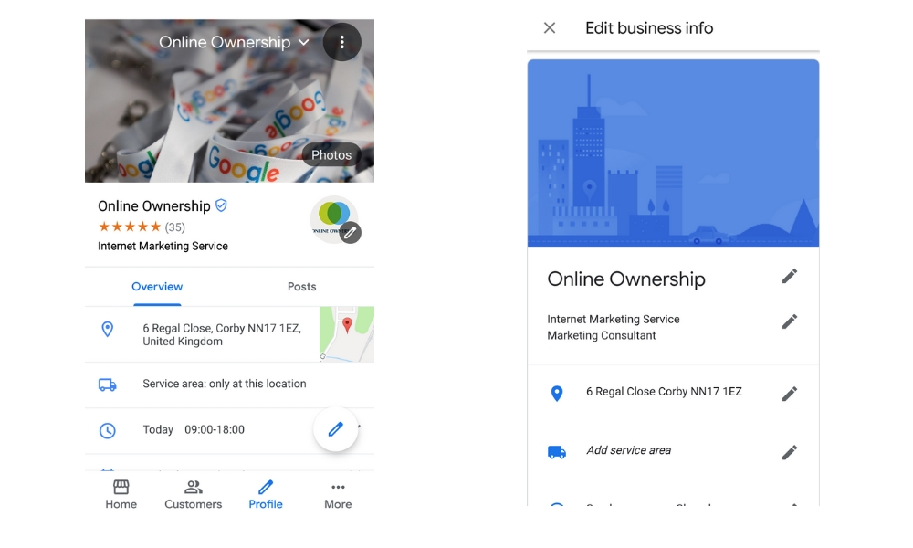 New Google My Business App Profile Section - Edit Business Details - Online Ownership