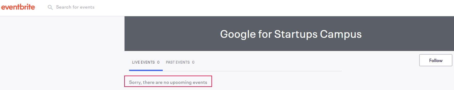 Non Existant Eventbrite Event Google Used for Event Listing - Online Ownership