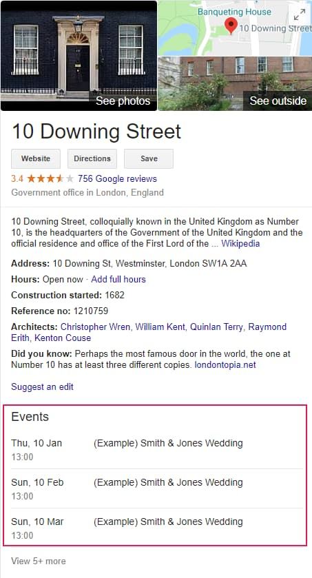Google Spams 10 Downing Street with Irrelevant Events in Knowledge Panel - Online Ownership