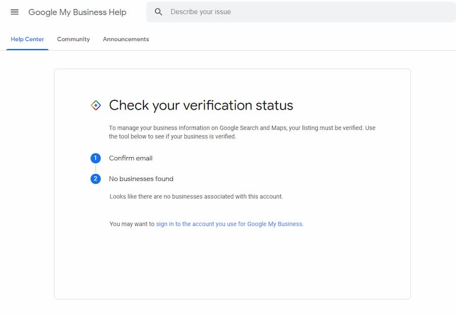 No Business Associated to Account for GMB Verification Tool Check - Online Ownership