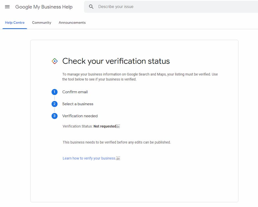 Status of Google My Business Business Verification Tool - Online Ownership