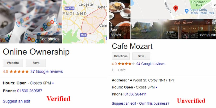 Verified and Unverified Google Business Page - Online Ownership
