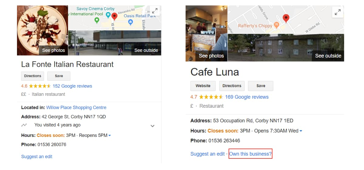 Check Restaurants Google My Business Listing - Online Ownership