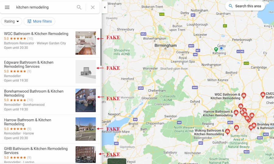 Fake Google Businesses - Kitchen Remodeling Businesses - Online Ownership