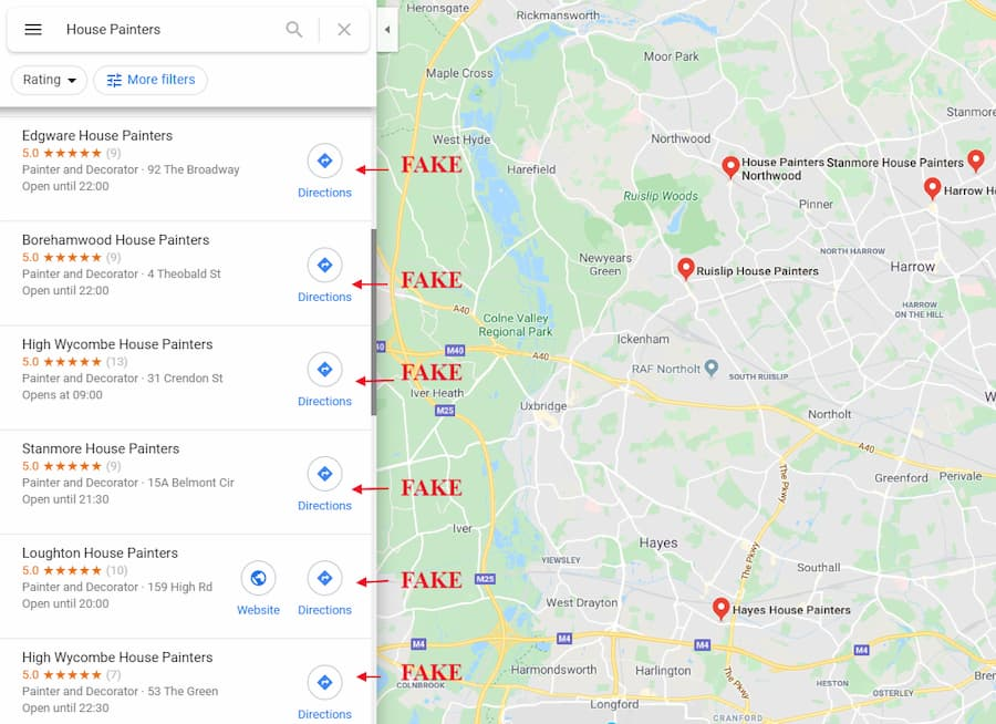 Fake Google Business Listings in the UK - Online Ownership