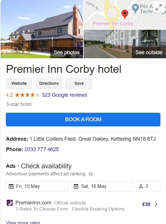 Premier Inn Hotels in Google - Online Ownership