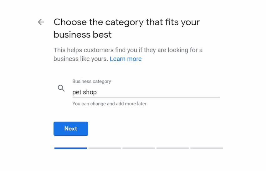 Add Business Category - Create a Google My Business Listing - Online Ownership