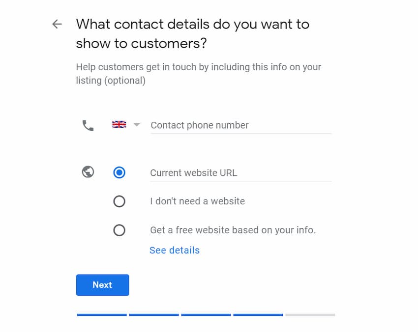 Business Contact Details - Create a Google My Business Listing - Online Ownership