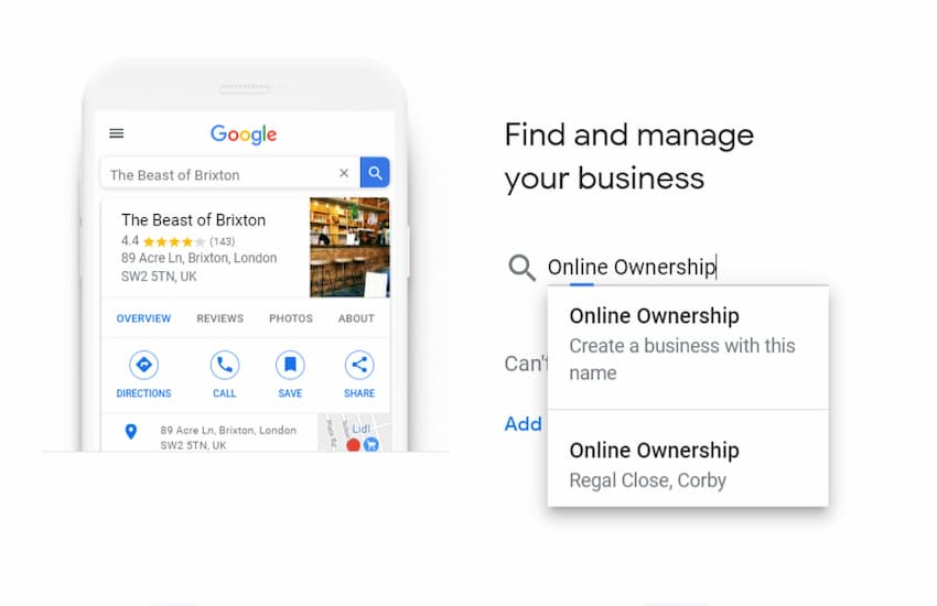Find My Business on Google My Business - Create a GMB Listing - Online Ownership
