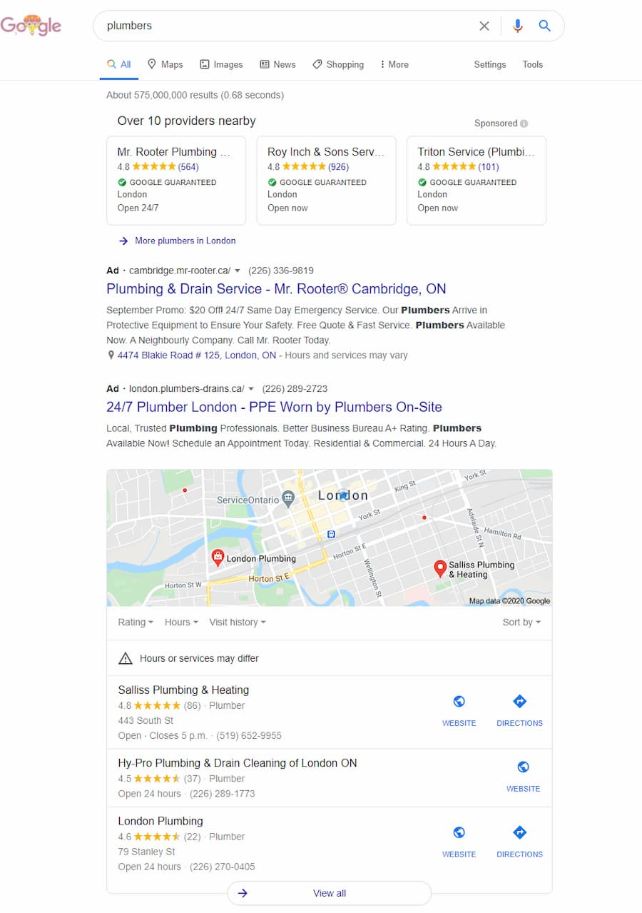 Local Service Ads in Organic Search Results - Online Ownership