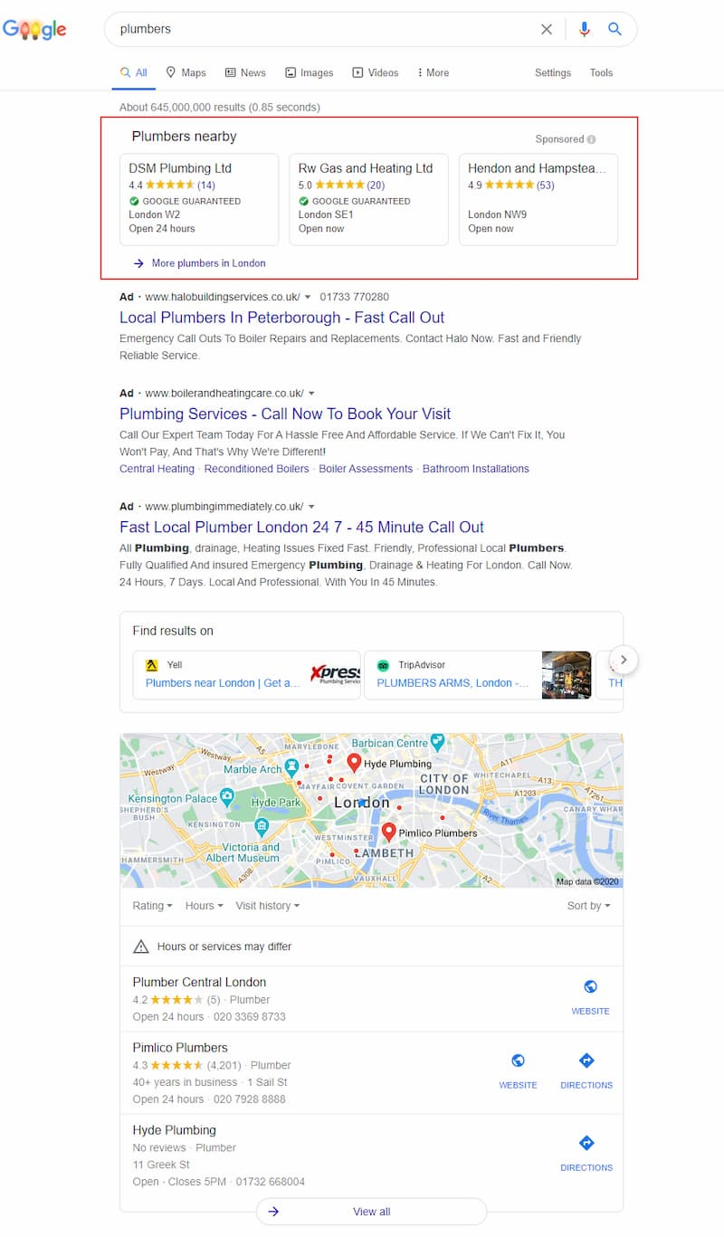 Local Service Ads Google Guaranteed in UK Search Results - Online Ownership