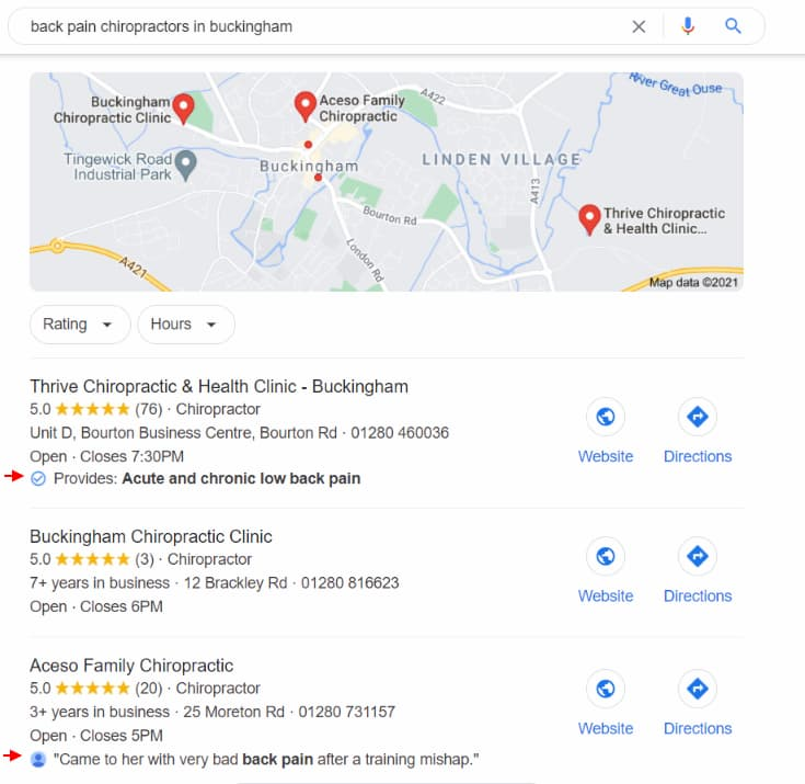 Local Justifications in Local Search Results - Online Ownership
