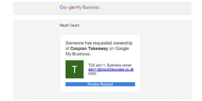Ownership Request for Google My Business - Touch 2 Success - Online Ownership