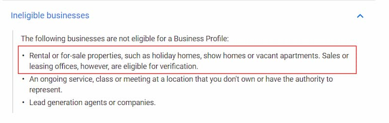 Vacation Rentals Google My Business Guidelines - Ineligible - Online Ownership