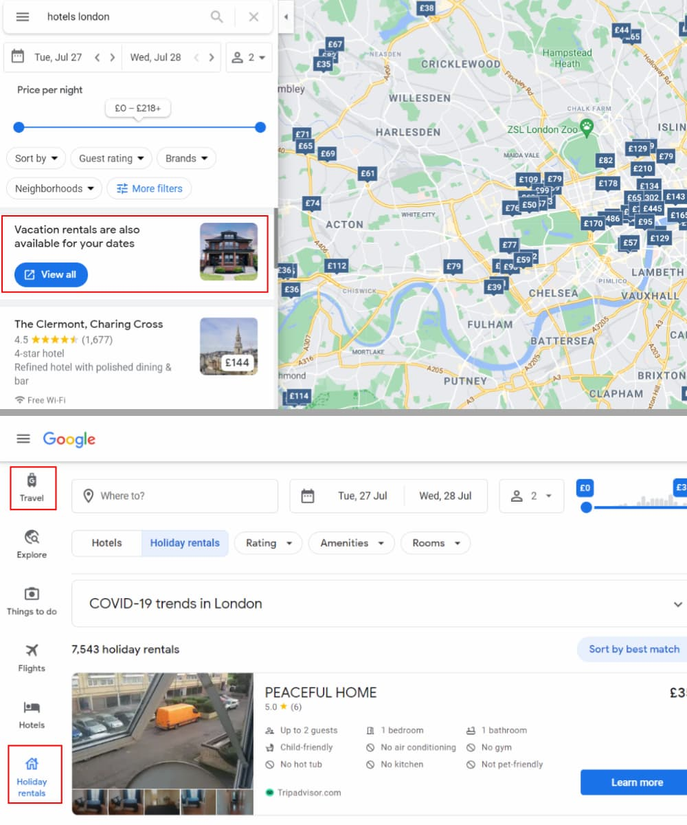 Vacation Rentals in Google Travel Not Google My Business - Online Ownership